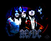 Hall Of Fame Band Framed Prints - AC/DC - Rock Framed Print by Absinthe Art By Michelle LeAnn Scott
