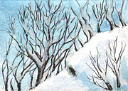 Snowy Trees Paintings - Ac213 Snowy Mountain by Kirohan Art