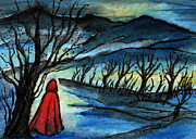 Red Riding Hood Paintings - Ac253 Red Riding Hood at Dawn by Kirohan Art