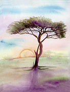 Serenity Prayer Paintings - Acacia Sunrise by L T Sparrow