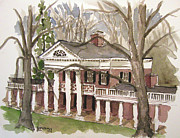 Thomas Jefferson Painting Posters - Academical Village UVA Poster by Robert Holewinski