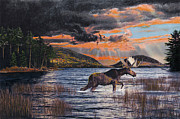 Sunset Drawings Originals - Acadia Feast by Brent Ander