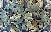 Featured Tapestries - Textiles Metal Prints - Acanthus Leaf Design Metal Print by William Morris