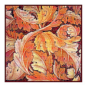 Featured Tapestries - Textiles Metal Prints - Acanthus Vine Design Metal Print by William Morris