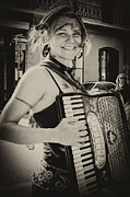 Kathleen K Parker - Accordion Player on Royal Street New Orleans- monochrome vintage