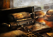 Steam Punk Metal Prints - Accountant - The Adding Machine Metal Print by Mike Savad