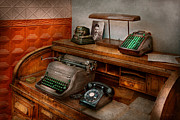 Phones Photos - Accountant - Typewriter - The accountants office by Mike Savad