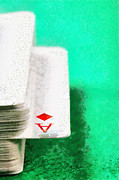 Hidden Objects Paintings - Ace of diamonds in card deck closeup painting by Magomed Magomedagaev