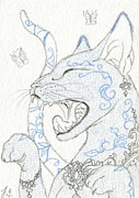 Patterned Mixed Media Originals - ACEO Blue Cat 2 by Jennifer  Anne Esposito