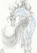 Patterned Mixed Media Originals - ACEO Blue Unicorn 5 by Jennifer  Anne Esposito