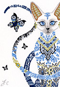 Extinct And Mythical Mixed Media Metal Prints - ACEO Egyptian porcelain cat Metal Print by Jennifer  Anne Esposito