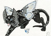 Patterned Mixed Media Originals - ACEO Moon Cat 3 by Jennifer  Anne Esposito