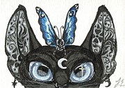 Patterned Mixed Media Originals - ACEO Moon Cat by Jennifer  Anne Esposito