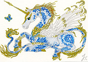 Pegasus Art - ACEO Porcelain Unicorn by Jennifer  Anne Esposito