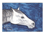 Cowboy  Collector Paintings - ACEO White Horse v1 by Mary Sylvia Hines