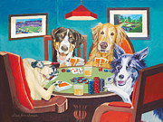Dogs Playing Poker Posters - Aces Run Wild Poster by Lisa Hershman