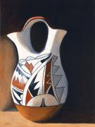 Indian Wedding Paintings - Acoma Wedding Vase by Jack Atkins