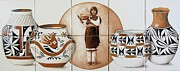 Featured Ceramics Framed Prints - Acoma Woman Pueblo Pottery Framed Print by Julia Sweda-Artworks by Julia