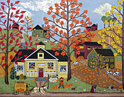 Folk Art Art - Acorn Farms by Medana Gabbard