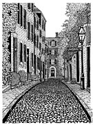 Boston Ma Drawings Framed Prints - Acorn Street Louisburg Square Framed Print by Conor Plunkett
