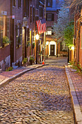 Evening Photographs Framed Prints - Acorn Street of Beacon Hill Framed Print by Juergen Roth