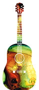Player Mixed Media Metal Prints - Acoustic Guitar - Colorful Abstract Musical Instrument Metal Print by Sharon Cummings