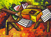 Acoustic Guitar Paintings - Acoustic Guitar on Artists Table by Kamil Swiatek