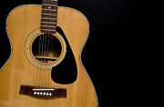 Classic Audio Player Photos - Acoustic Guitar on Black by Gord Horne