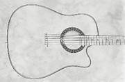 Acoustic Guitar Digital Art Metal Prints - Acoustic Guitar On White Sketch Metal Print by Randy Steele