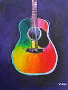 Guitar Strings Painting Originals - Acoustic Guitar by Venus