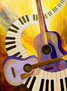 Acoustic Guitar Painting Originals - Acoustics in Space by Larry Martin