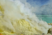 Asien Prints - acrid steam and yellow sulphur in crater of vulcano Kawah Ijen Java Indonesia Print by Juergen Ritterbach