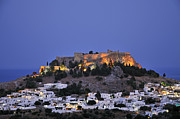 Lindos Posters - Acropolis and village of Lindos during dusk time Poster by George Atsametakis