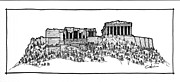 Nike Drawings Originals - Acropolis of Athens by Calvin Durham