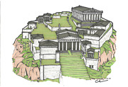 Nike Drawings Originals - Acropolis of Athens Restored by Calvin Durham