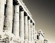 Acropolis Photo Posters - Acropolis Pantheon Landscape Poster by David Waldo