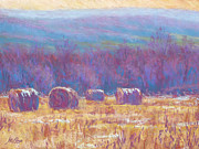 Hay Bales Pastels Framed Prints - Across Dunn Valley Framed Print by Michael Camp