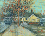 Plein Air Drawings - Across from Burgers by Donald Maier