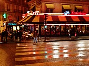 Outdoor Cafes Posters - Across from the Moulin Rouge in Paris Poster by Jan Moore