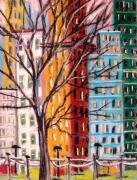 Cityscape Drawings - Across from the Park by John  Williams