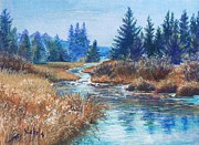 Beautiful Creek Mixed Media Prints - Across the Brook Print by Joy Nichols