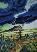 Barn Storm Drawings Prints - Across the Plains of Texas Print by Robert Thornton