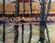 Winter Trees Painting Metal Prints - Acrossthe Eel To The Smith Place Metal Print by Charlie Spear