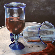 Wine Glasses Paintings - Act of Passion by Julia Robinson