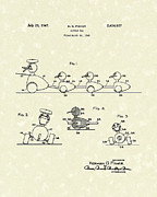 Action Drawings Prints - Action Toy 1947 Patent Art Print by Prior Art Design