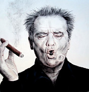 Jim Fitzpatrick Metal Prints - Actor Jack Nicholson Smoking Metal Print by Jim Fitzpatrick