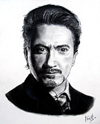 Avengers Drawing Drawings - Actor Robert Downey Jr by Jim Fitzpatrick