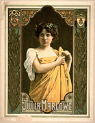 Color Lithographs Photo Acrylic Prints - Actress Julia Marlowe 1899 Acrylic Print by Padre Art