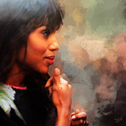 Influential Framed Prints - Actress Kerry Washington Framed Print by Nishanth Gopinathan