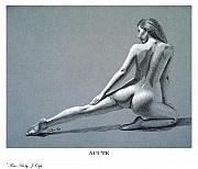Female Nude Drawings - Acute print version by Joseph Ogle